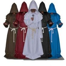 Средневековый монах церковь духовенство пастор костюм для взрослых мужчин жрец с капюшоном Капот Платье Халат накидка христианский Плащ Хэллоуин наряд шаль