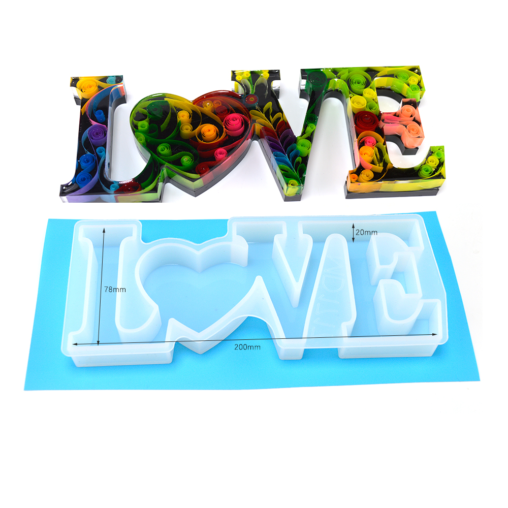 Home Decoration Stand Stereoscopic Letters Silicone Mold  Dried Flowers Resin Silicone LOVE Molds Alphabet For Resin Jewelry