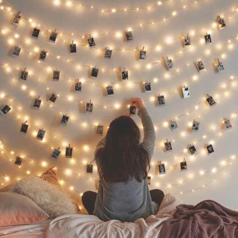 2 متر/5 متر/10 متر مشبك الصور USB LED سلسلة أضواء الجنية أضواء في الهواء الطلق بطارية تعمل جارلاند عيد الميلاد الديكور حفل زفاف عيد الميلاد