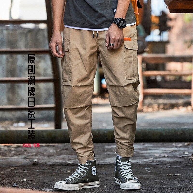 2019 New Style Popular Brand BOY'S Bib Overall Teenager Multi-pockets Velcro Beam Leg Japanese-style Harem Capri Pants Men's