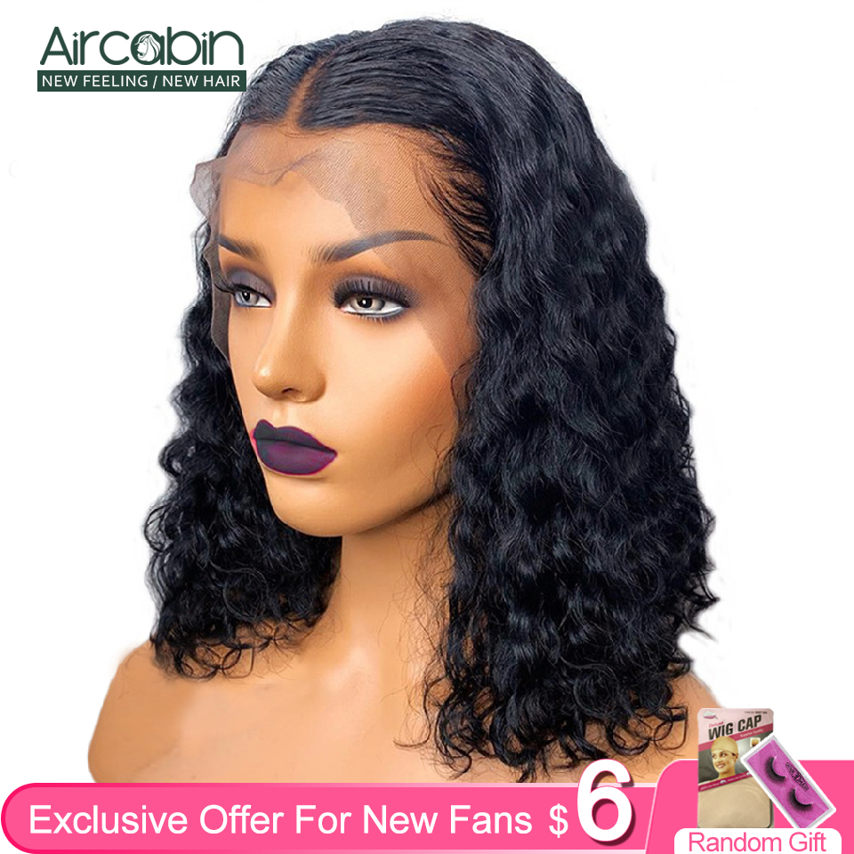 Aircabin13x6 Lace Frontal Bob Wigs Water Wave Brazilian Human Hair Lace Closure Wigs For Black Women 150 120 Density Non-Remy(China)