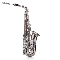 Muslady Eb Alto Saxophone Sax Brass Lacquered Gold 802 Key Type with Padded Carry Case Gloves Cleaning Cloth Brush Straps Reeds
