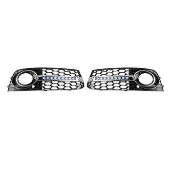 ALLOYSEED 1 Pair Front Bumper Fog Light Grill Grille Cover with Flowing LED Turn Signal DRL for Audi A4 B8 2009-2011 Accessories image