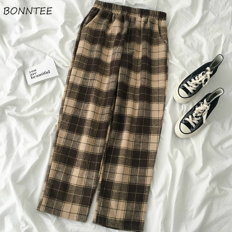 Pants Women Plaid Retro Chic Leisure Daily Streetwear New Womens Straight Trousers Drawstring Elastic Waist Harajuku Ulzzang