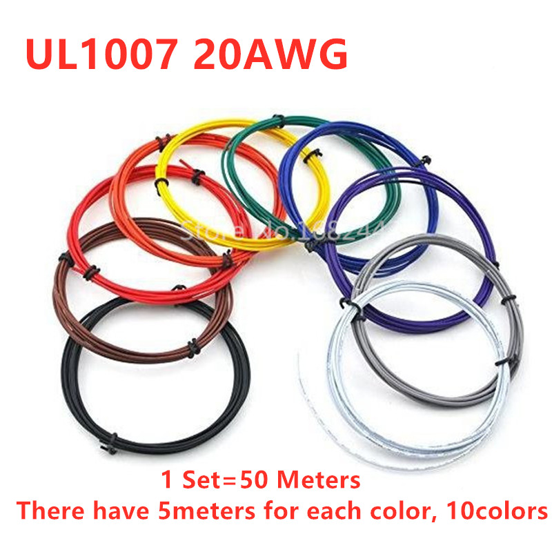 10 colors 50 Meters <font><b>UL1007</b></font> <font><b>20AWG</b></font> wire electronic cable jump wire 1.8mm PVC Cable image