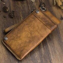 AETOO Cartera de cuero hecha a mano cartera larga retro para hombre bolso de mano de cuero de gran capacidad cremallera bolsa de teléfono organizador Vintage