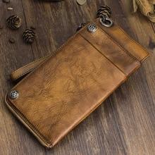 Кожаный кошелек AETOO ручной работы, длинный бумажник в стиле ретро, мужская сумочка, кожаный вместительный Органайзер на молнии для телефона в винтажном стиле