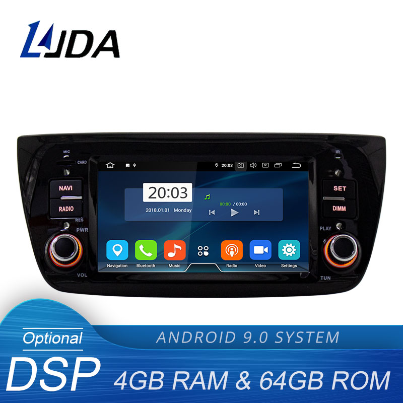LJDA Android 9.0 Car Multimedia Player For FIAT DOBLO 2010-2016 1 Din Car Radio GPS Navigation Stereo 4G+64G Octa Cores WIFI DSP image