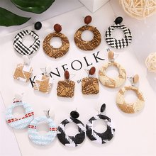 VKME big geometric Rattan earrings for women Brincos new Weaving oval earrings Vintage woman round earring jewelry(China)