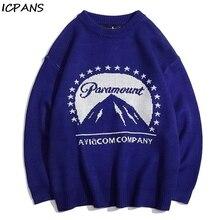 ICPANS Vintage Print Pullover Sweater Men Hip Hop Streetwear Kintwear Fashion 2019 Winter Autumn For Man