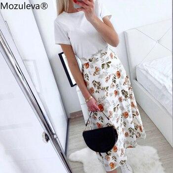 Mozuleva 2020 Spring Summer High Waist Chiffon Women Midi Skirts Casual Floral Print Female Skirt Maxi Beach Tutu femme