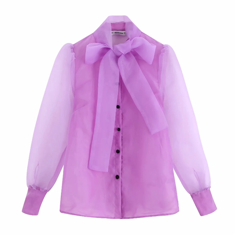 Women Solid Color Bow Collar Organza Casual Smock Shirts Blouses Women Long Sleeve Transparent Roupas Chic Chemise Shirt LS4176