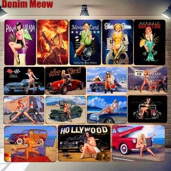 Pin Up девушка плакат сексуальная леди Винтаж металлические жестяные вывески бар паб кафе-гараж домашний Декор стены Голливуд стены Искусств...