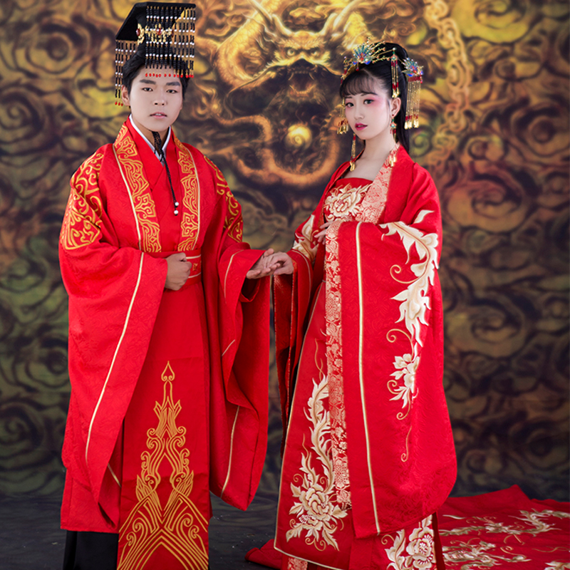 Delicate Embroidery Hanfu Costume Sets for Bride and Groom Ancient Chinese Long Tailed Wedding Hanfu Cosplay TV Play