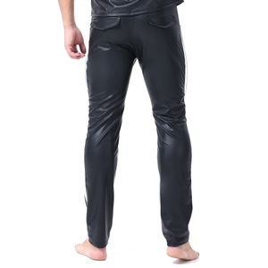 Image 5 - Erkekler seksi şerit Faux deri Lingerie egzotik pantolon PU lateks Catsuit fermuar kasık PVC Clubwear eşcinsel fetiş pantolon tayt zentai