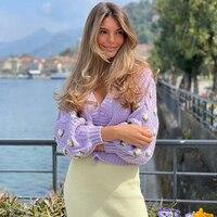 MEIYANGYOUNG maglione lavorato a maglia viola donna Cardigan corto manica lunga scollo a V maglione monopetto Cardigan cappotto Streetwear