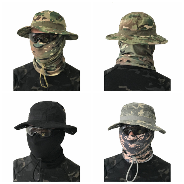 Military Tactical Cap Men Camouflage Boonie Hat Sun Protector Outdoor Paintball Airsoft Army Training Fishing Hunting Hiking Cap 2