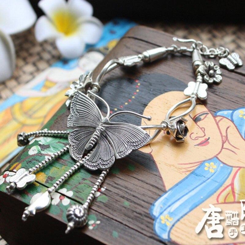 Thailand handgemaakte zilveren vlinder armband wind herstellen van oude manieren doen oude vrouwelijke Thai zilveren armband met natie - 3