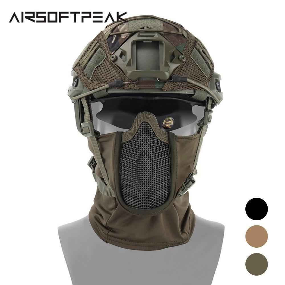 AIRSOFTPEAK หน้ากากใบหน้าเต็มรูปแบบยุทธวิธีการล่าสัตว์ Balaclava หน้ากาก Airsoft Paintball หน้ากากป้องกัน CS Ninja หน้าก...
