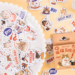45pcs Cute Cat Circus Troup Show Stickers Set Cartoon Kitties Post Note Sticker Home DIY Art Decoration Diary Gift Adhesive F192