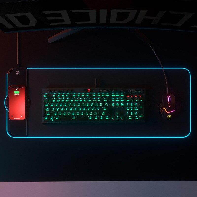 Alfombrilla de ratón de carga inalámbrica alfombrilla para jugador de RGB luminoso escritorio Mat ordenador portátil teclado ant