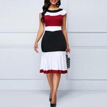 Fashion Patchwork Summer Dress Women Casual Plus Size Slim Ruffles Office A-Line Elegant Vintage Long Party Vestidos