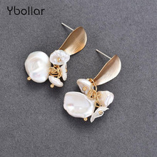 Ybollar Fashion Pearl Earrings Original Design Gold Handmade Flower Drop Baroque For Women Jewelry Gift