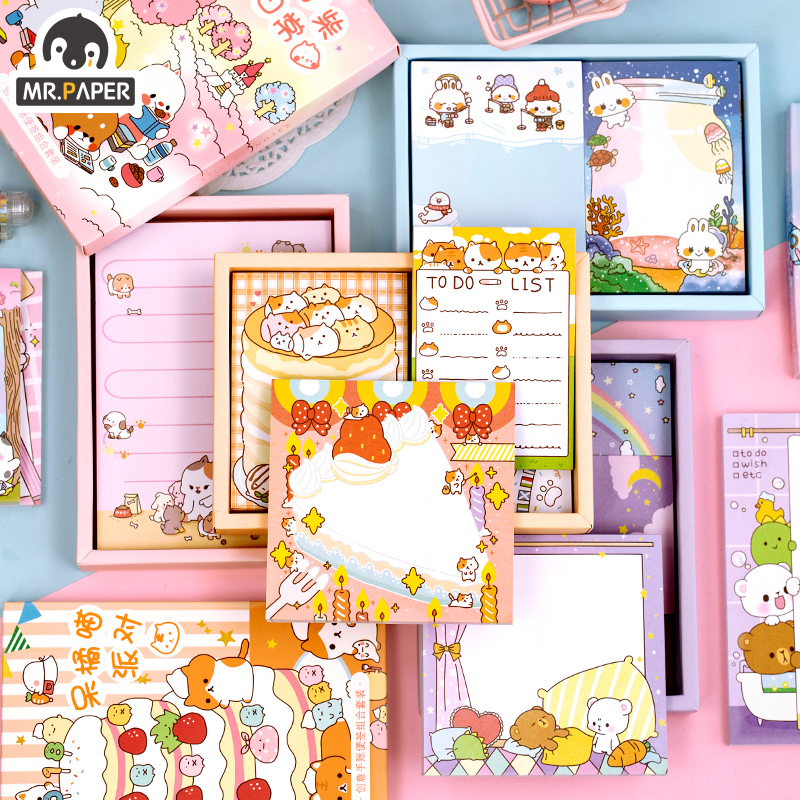 Mr.Paper 250pcs/lot 4 Design Lovely Sweet Girlish Animal Daily Check List Memo Pads Notepad Diary Writing Note Down Memo Pads