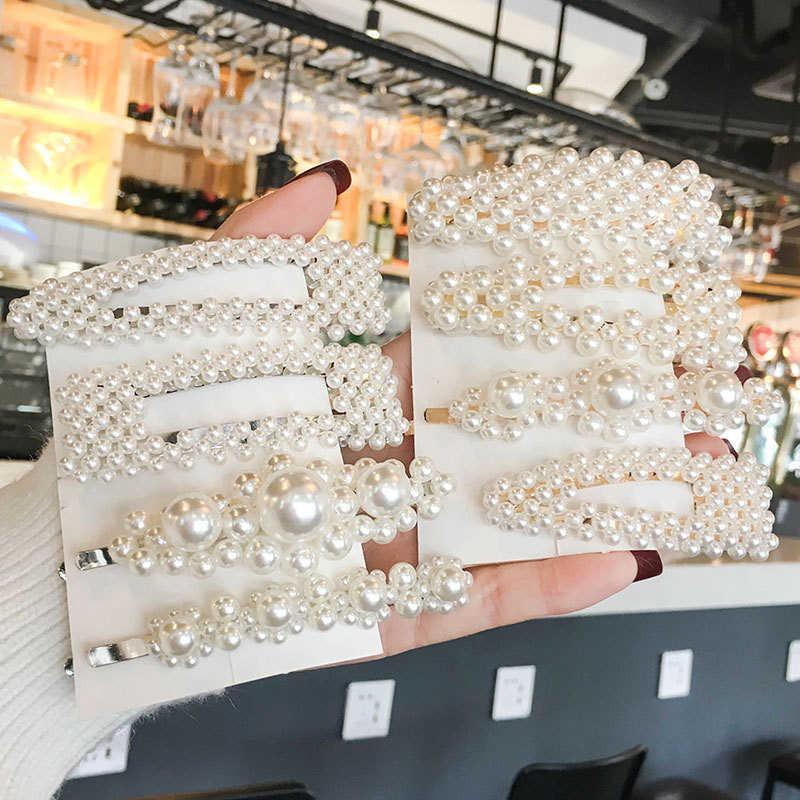 3/4/5 ピース/セットトレンディ真珠のヘアクリップ女性手作り幾何バレッタ三角形、正方形ヘアピンスタイリングアクセサリー