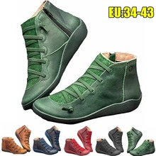 16,88€ Botines de tacón plano clásico para mujer con cordones botas cortas de cuero casuales botas Vintage impermeables zapatos para mujeres de talla grande