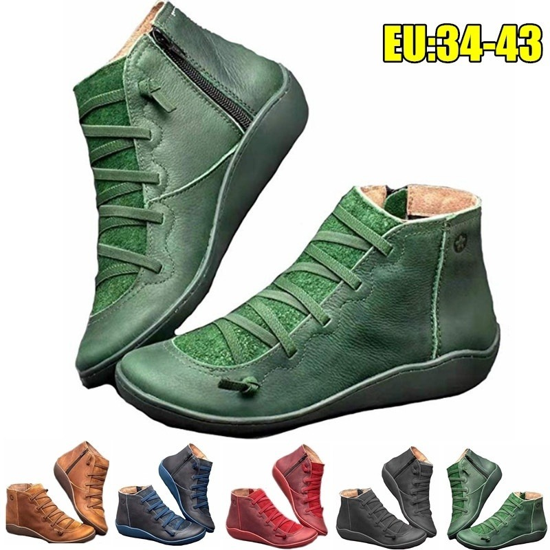 Classic Women Flat Heel Ankle Boots Lace Up Casual Leather Short Boots Waterproof Vintage Boots Shoes For Women Plus Size