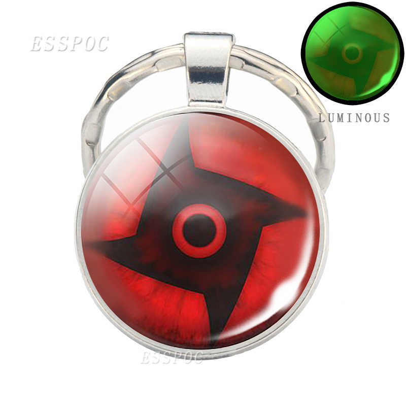 Anime Naruto Sharingan ojo llavero dibujo luminoso llavero cristal cabujón Domo llaveros Cosplay accesorios de moda regalos