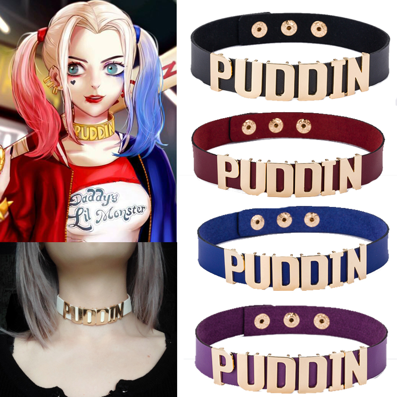 Harley Quinn Puddin Choker <font><b>Suicide</b></font> Squad Necklace Cosplay Props Women Sexy Birds of Prey Necklace image