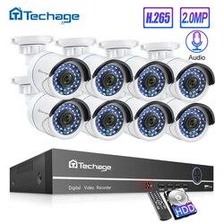 H.265 8CH 1080P 2.0MP POE طقم NVR نظام الأمن الصوت IP كاميرا الأشعة تحت الحمراء في الهواء الطلق مقاوم للماء CCTV مجموعة مراقبة الفيديو 2 تيرا بايت HDD