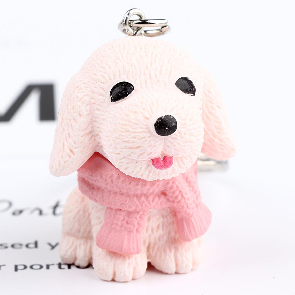 Resin Lovely Scarf Dog Animal Key Ring Key Chain Fashion Jewelry Key Holder