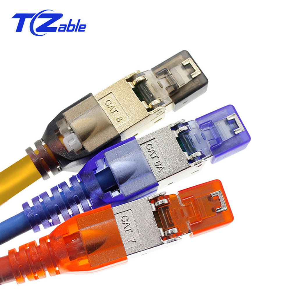 RJ45 Connector Cat6A Cat7 Cat8 Rj45 Ethernet Cable Plug Connectors Tool-Free Crimping Shielded LAN Corner Network Cable Adapter