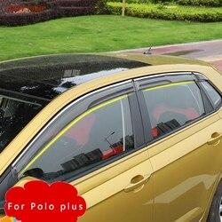 Przezroczysty z tworzywa sztucznego okno Visor Vent Shades osłona przeciwdeszczowa osłona dla volkswagena VW Polo plus 2019 w Markizy i zadaszenia od Samochody i motocykle na
