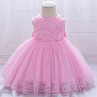 Vestido rosa para bebé, ropa de primer cumpleaños para niña, lazo grande de princesa, vestidos de bautismo, vestido de fiesta de flores, 2021