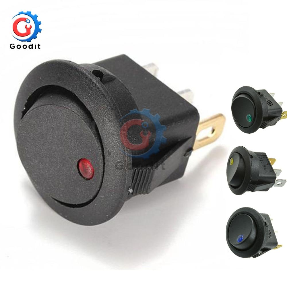 SPST Automotive Rocker Switch w//Red LED 12V