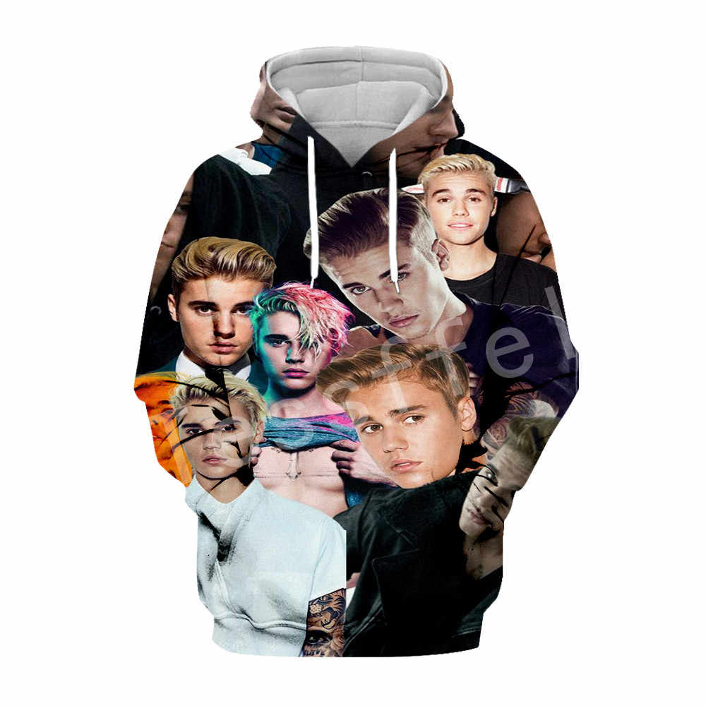 Tessffel Justin Bieber Singer casual Harajuku 3D พิมพ์/เสื้อกันหนาว/เสื้อ/เสื้อ MenWomen hiphop ตลก style6