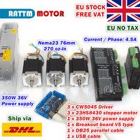 [EU STOCK] 3 Axis Nema23 76mm CNC Controller Kit 270oz in Stepper Motor+256 microstep 4.5A CW5040 Driver+350W 36V Power Supply