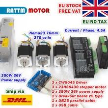 [מניות איחוד אירופי] 3 ציר Nema23 76mm CNC בקר ערכת 270oz in צעד מנוע + 256 microstep 4.5A CW5040 נהג + 350W 36V אספקת חשמל