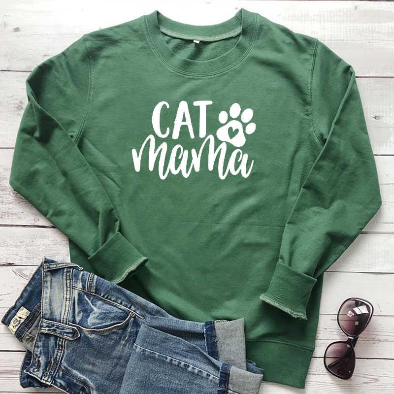 Kedi anne mektup baskı kazak kediler Paw Kawaii miyav kadın giyim kız aşk kazak rahat anne sonbahar kıyafetler Dropshipping