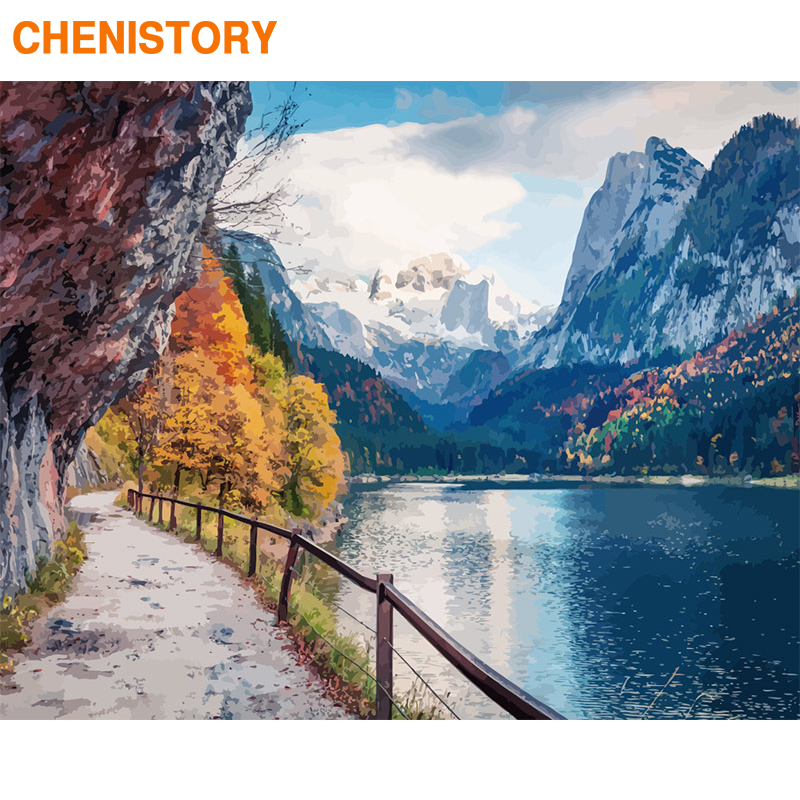 CHENISTORY Frame DIY Painting By Numbers Snow Lake Kit Canvas Picture Landscape Hand Painted Oil Painting For Home Decor Gift