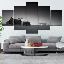 Снежная сцена и дом постер черно белый минималистическая декоративная