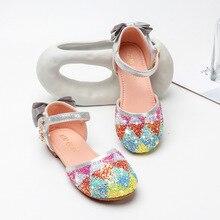 Sequins girls sandals new summer children's sandals soft bottom flat sandals large Tong Xuesheng
