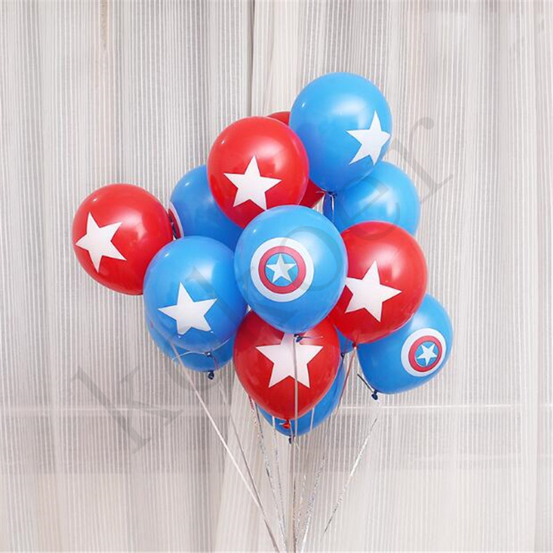 10pcs Marvel Avengers <font><b>Foil</b></font> Balloons Captain America Shield Latex Balloon Birthday Wedding Party Decorations Classic hero theme image