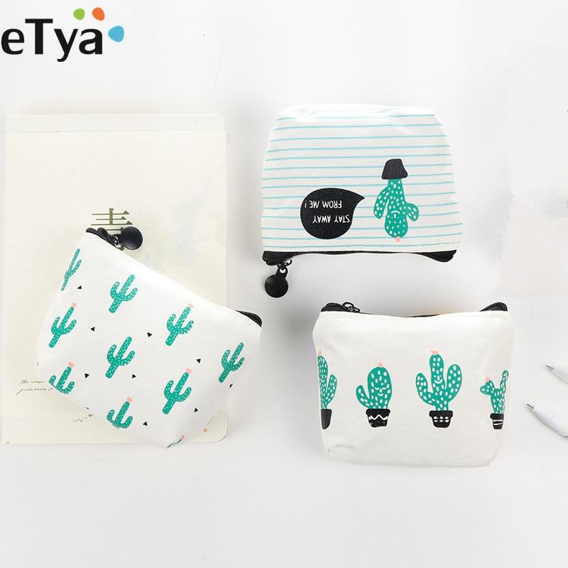 ETya Cartoon Cute Small  Kids Women's Purse Coin Wallet  Coin Purse Money Pouch Cactus Change Pouch Key Holder Bag