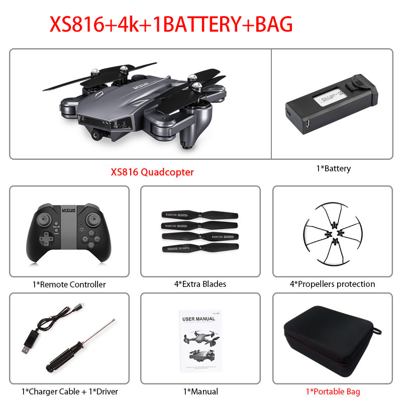 XS816 RC Drone Optical Flow 4K Drone with Dual Camera Wifi FPV Drone Gesture Control Helicopter Quadcopter for Kids