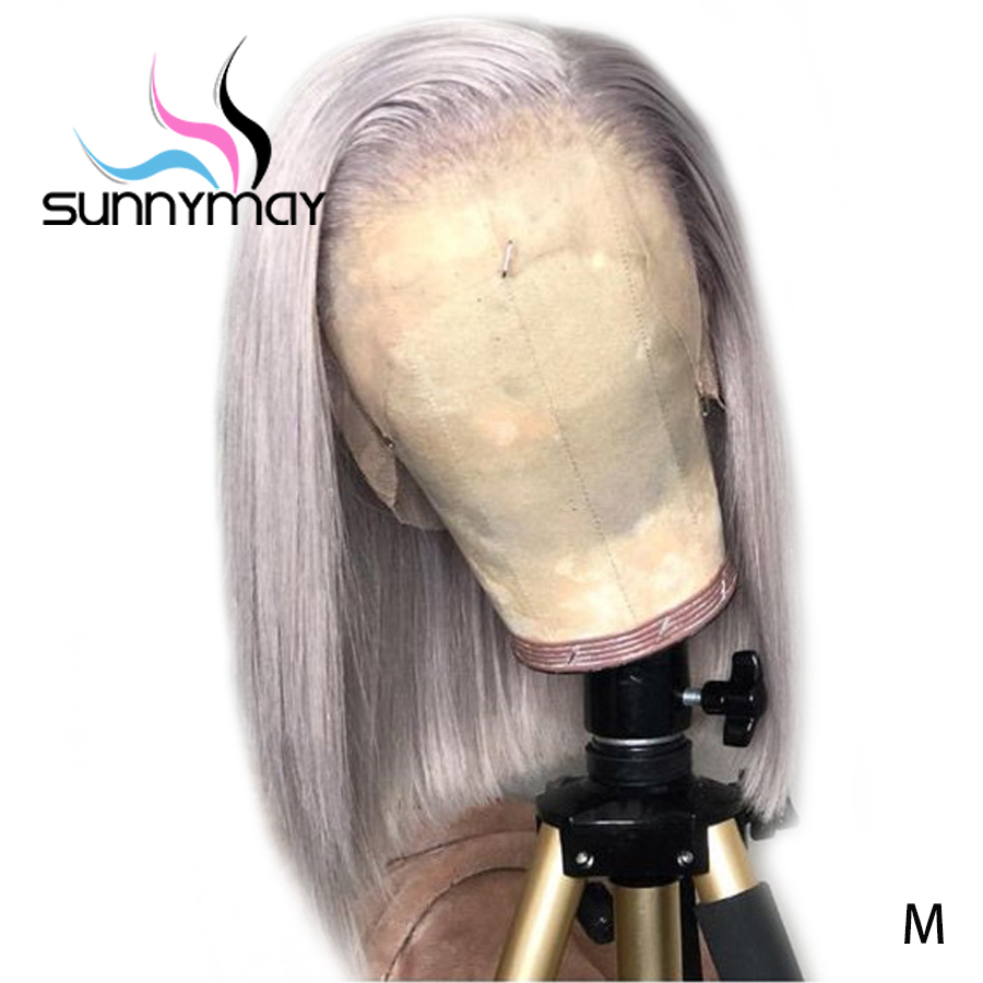 Sunnymay 13x4 Grey Color Straight Human Hair Wigs Pre Plucked 130% Bob Wigs Remy Hair Lace Front Human Hair Wigs Bleached Knots